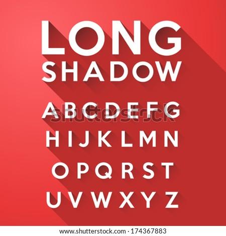 long flat shadow alphabet on
