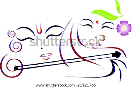 images of god krishna and radha. stock vector : Lord Krishna
