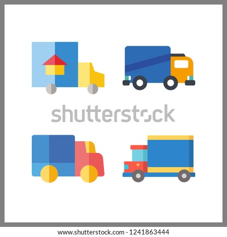 4 lorry icon. Vector illustration lorry set. delivery truck and trucks icons for lorry works