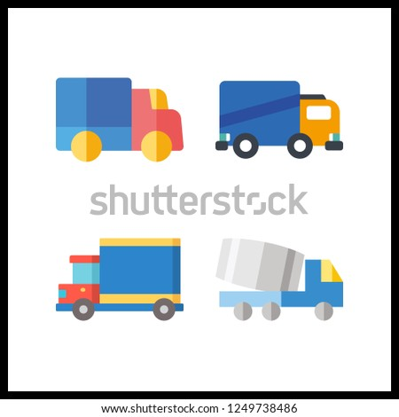 4 lorry icon. Vector illustration lorry set. truck and trucks icons for lorry works