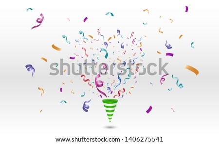 Lots of colorful tiny confetti and ribbons on transparent background. Festive event and party. Cone with confetti. Colorful bright confetti isolated on transparent background.