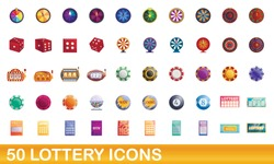 50 lottery icons set. Cartoon illustration of 50 lottery icons vector set isolated on white background