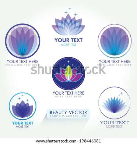 Lotus Icon set. Good for Beauty Industry, Beauty Salon, Med Spa, Alternative Medicine, Spa, Beauty, Spa Boutique, Yoga Club, Massage and Recreation, Shiatsu, Natural Healing, Acupuncture, Naturopathy