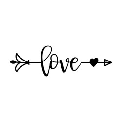 'love' in boho arrow - lovely lettering calligraphy quote. Handwritten  tattoo, ink design or greeting card. Modern vector art.