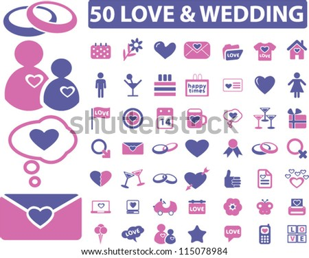 50 love & wedding icons set, vector