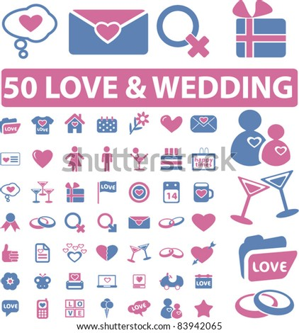 50 love & wedding icons, signs, vector illustration