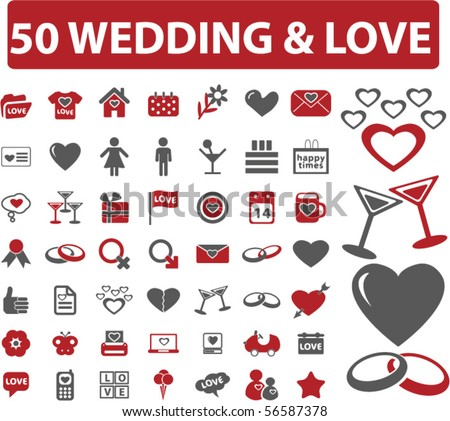 50 love & wedding signs. vector - stock vector