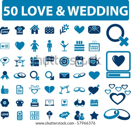 50 love & wedding signs. vector