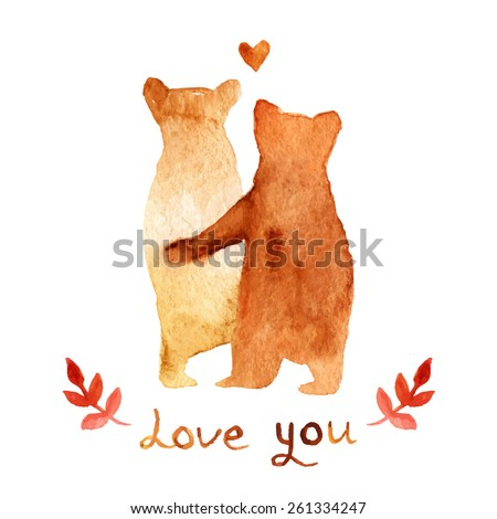2 lovely brown bears in love