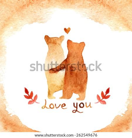 2 lovely brown bears in love