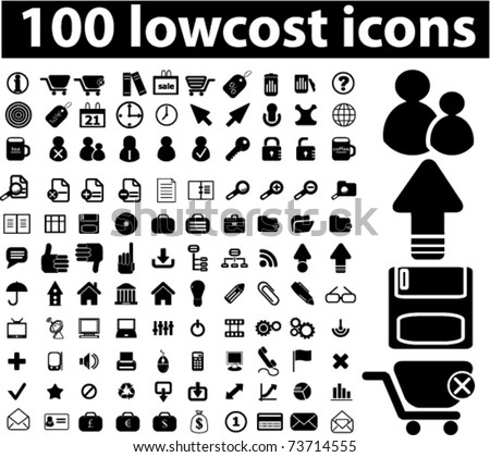 100 low cost black icons, vector