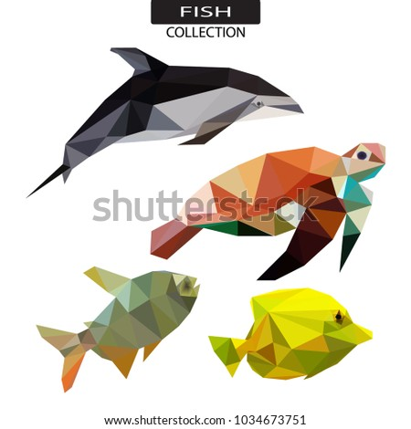 LOW POLY SEA ANIMAL LOGO ICON SYMBOL SET. TRIANGLE GEOMETRIC POLYGON DOLPHIN, TURTLE AND SEA LION.