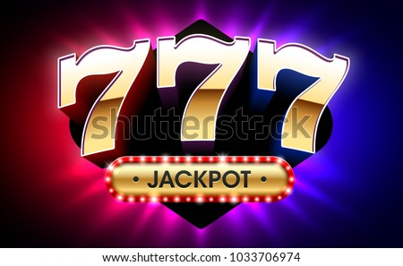 777, lucky sevens jackpot, big win jackpot with triple lucky sevens on bright background, gambling casino games banner, vector illustration