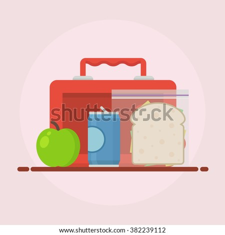 Lunch break or lunch time vector illustration. Lunch box, sandwich, soda and an apple in flat style. Kids lunch school.