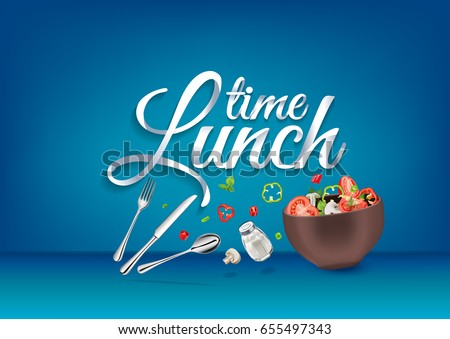 """""""Lunch time"""" paper hand lettering calligraphy. Vector illustration with food objects and text."""