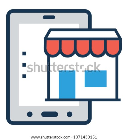 M Commerce Flat and Line Icon