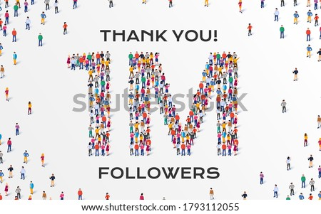 1M Followers. Group of business people are gathered together in the shape of one million sign, for web page, banner, presentation, social media, Crowd of little people. Teamwork. Vector illustration Stock fotó ©