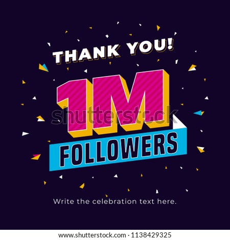 1m followers, one million followers social media post background template. Creative celebration typography design with confetti ornament for online website banner, poster, card. Stock fotó ©
