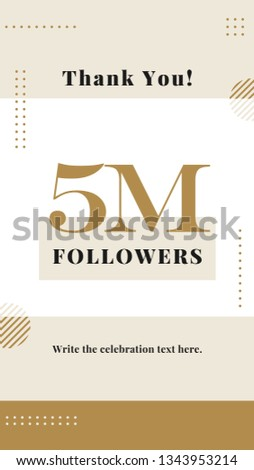 9925e31d699 Creative celebration typography design 5M followers story post background  template design. Modern elegant vector style. flyer banner for ...