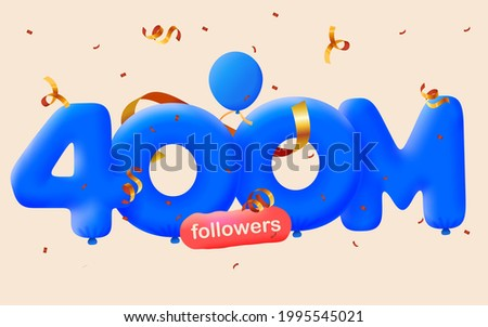 400M followers thank you 3d blue balloons and colorful confetti. Vector illustration 3d numbers for social media 400000000 followers, Thanks followers, blogger celebrates subscribers, likes