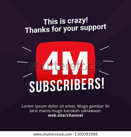 4M subscribers celebration background design. 4 million subscribe