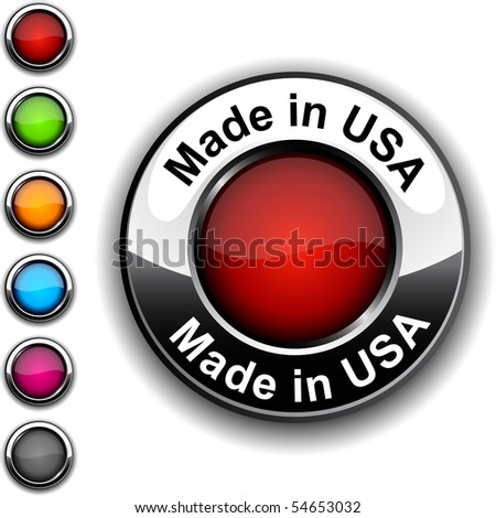 Made in USA realistic button. Vector.