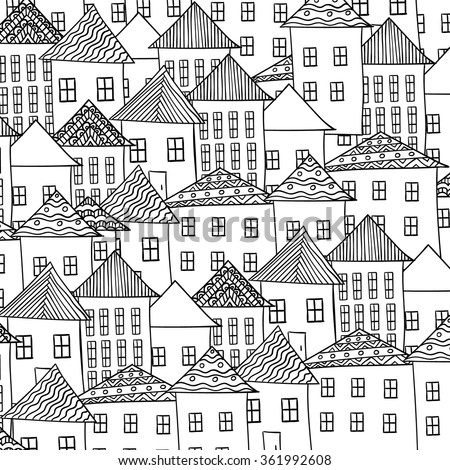 Magic City. Street background. Ink pen. Zentangle. Black and white pattern in vector.