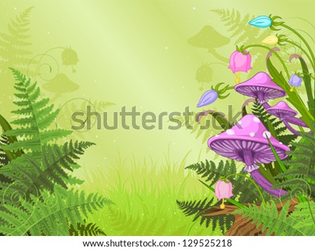 Magic landscape with mushrooms and flowers