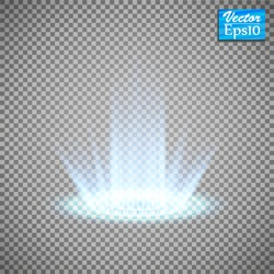 Magic portal of fantasy. Futuristic teleport. Light effect. Light rays of the night scene and sparks on a transparent background. Empty light effect of the podium. Disco club of the dance floor.