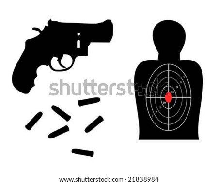 357 magnum ammo. stock vector : 357 Magnum with target and ammo