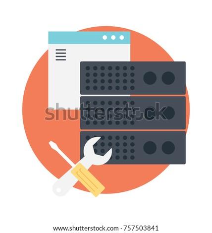Maintenance tools with server and web symbolising web server maintenance