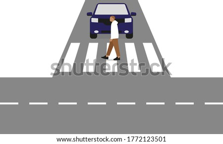 Male character crosses a crossroads at a pedestrian crossing in front of a car