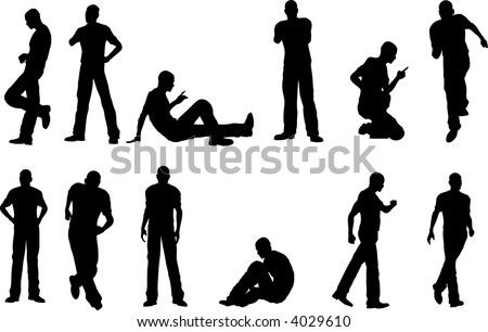 12 Male Poses - sitting and standing  (vector format)