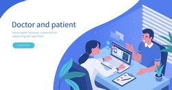 Man Talking with Woman Doctor in Office. Patient having Consultation about Disease Symptoms with Doctor Therapist in Hospital. Medical People Characters.  Flat Isometric Vector  Illustration.