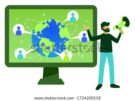 man with megaphone and a screen, interconnectivity and social media concept isolated on white Stockfoto ©
