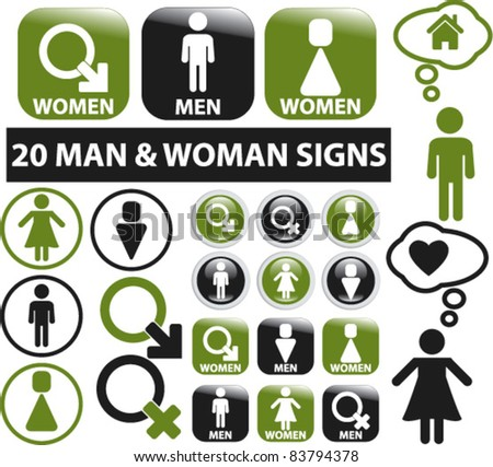 20 man & woman signs, buttons, icons, vector
