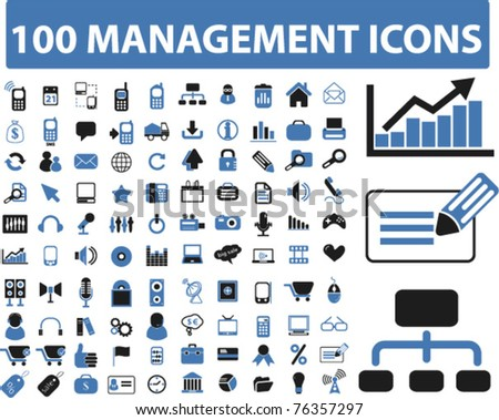 100 management icons, vector