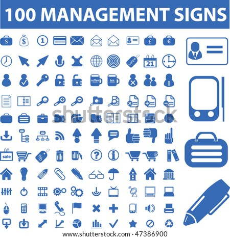 100 management signs. vector