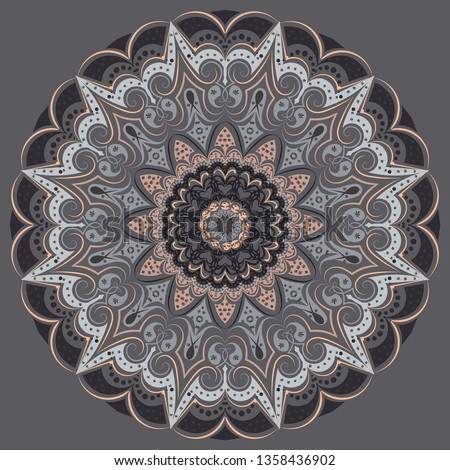 Mandala - in gray colors of different shades. Interior in loft style, brutal style. Geometric style, strict lines, interesting fashionable design.