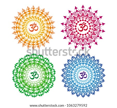 4 mandalas of different colors