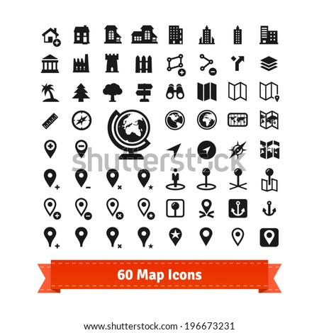 60 map icons set. For use in internet map services and map editing. Also contains buildings. EPS 10 vector set.