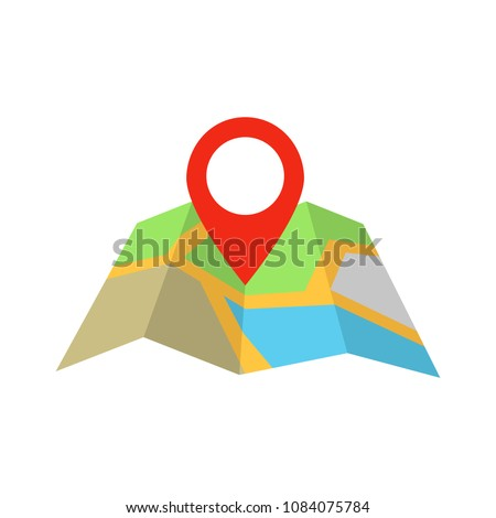 Map marker pointer with road map vector icon design. Map pointer icon. GPS location symbol.