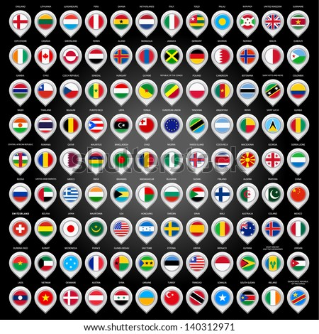 108 Map marker with flags. Vector illustration 10eps