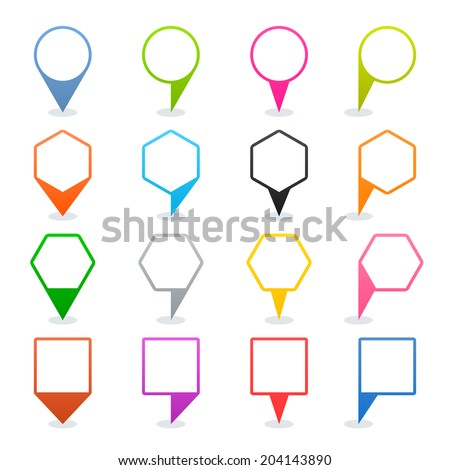 16 map pins sign location icon with oval shadow in flat style. Set 03. Blue green pink orange gray black yellow brown violet colored shapes on white background. Vector illustration element in 8 eps