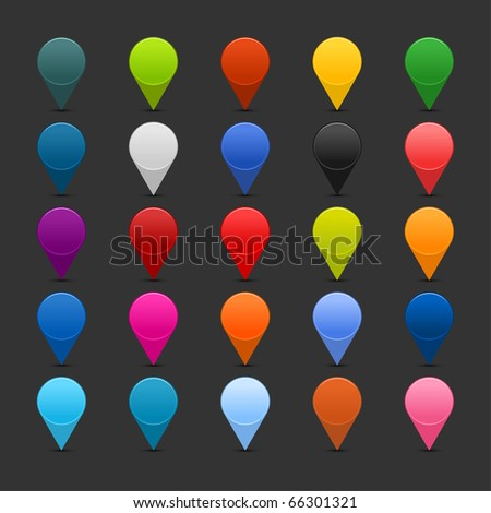 25 mapping pins icon web 2.0 buttons. Colored satined round shapes with shadow on gray - stock vector