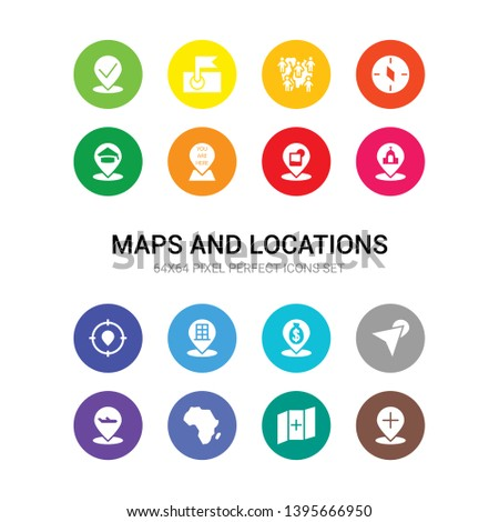 16 maps and locations vector icons set included add location, add to map, africa, airport pin, arrow on map, bank pin, building pin, center, church, club location, you are here icons
