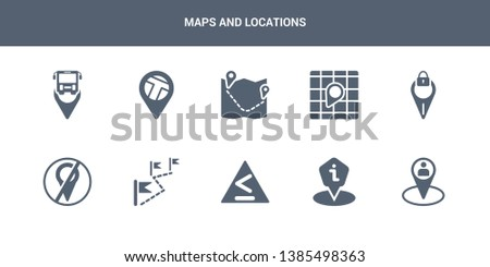 10 maps and locations vector icons such as home location, human location, information point pin, left chevron, location contains off, locked place, map, map direction, map pin. maps and locations