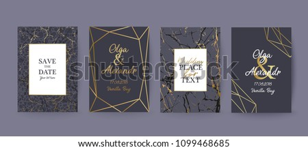 Marble  texture background with geometric frame and gold. Modern design for wedding card, invitation, birthday, cover, flyer, brochure. Luxury branding identity. Vector illustration.