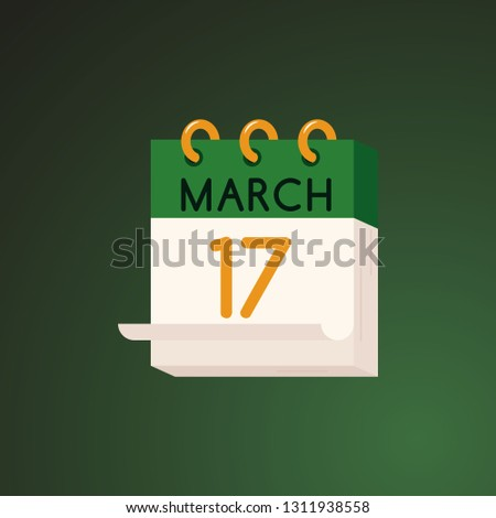 17 March calendar - element for St Patrick Day celebration design in flat style.