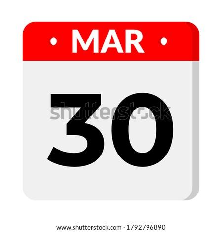 30 march calendar icon, vector illustration